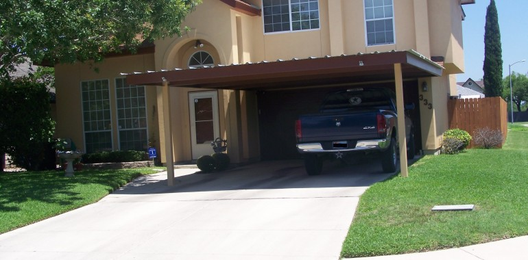 Attached two post custom two car carport south san antonio for Car patio covers